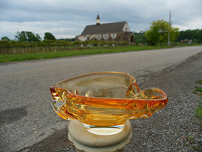 Mid Century Modern Chalet Art Glass Free Form Stretch Amber Yellow Clear Signed!