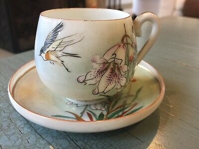 Vintage Demitasse Tea Cup and Saucer Birds and Lilies Japan