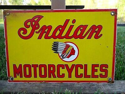 OLD VINTAGE 1950'S INDIAN MOTORCYCLES PORCELAIN ENAMEL ADVERTISING DEALER SIGN