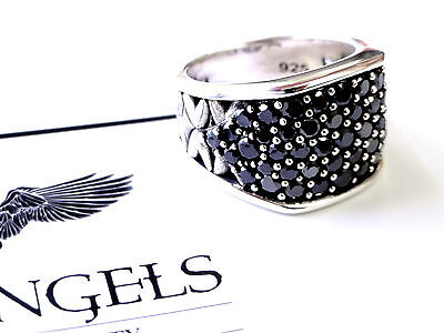 Men's Silver Wedding Band Fashion Ring With Black Diamonds by Sacred Angels