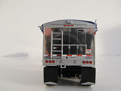 DCP 1/64 SCALE WILSON GRAIN TRAILER WIHTE WITH PURPLE TARP AND SILVER HOPPERS 2