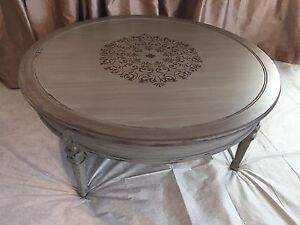 Solid Wood Stencilled Coffee Table