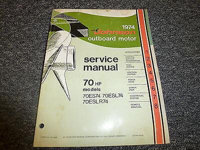 1974 Johnson 70 HP Models Outboard Motor Shop Service Repair Technical Manual