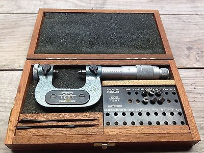 Nice Swiss Tesa 0 - 1 .0001 Thread Micrometer Anvils Case