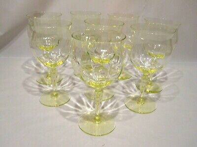 Antique Vintage Yellow Uranium Glass Stemware Set of 8 Wine Glass Goblet