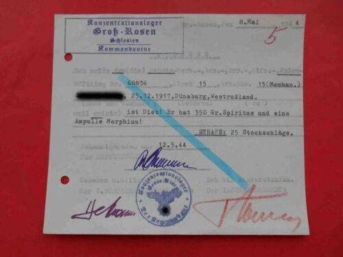 KZ Lager GROSS ROSEN 1944 RARE Genuine Document Judaica, Type 2 Meldung