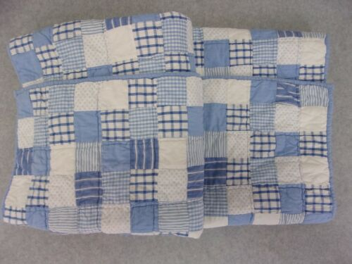 Pottery Barn Kids blue and white patchwork baby quilt 35 in. X 45 in. Reversible