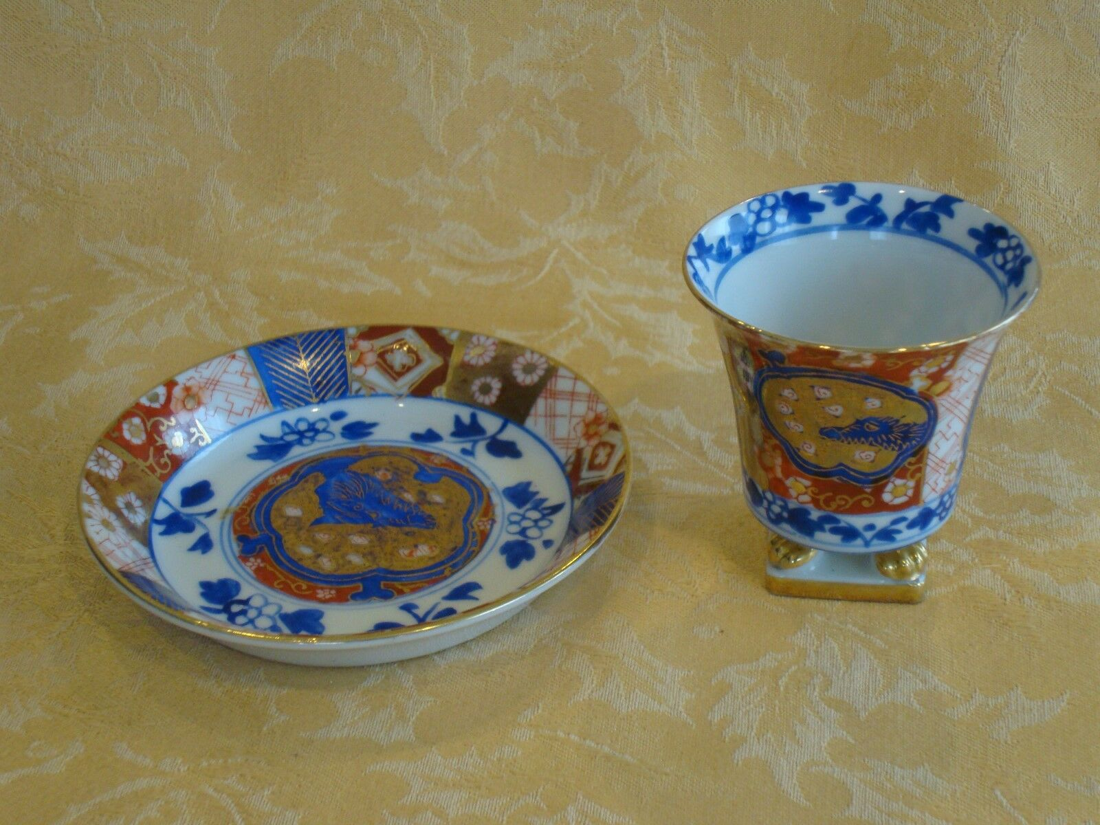 Vintage Imari Porcelain Footed Cup and Saucer Set Hand Painted