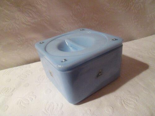 Vtg RARE Blue Delphite Jeannette Refrigerator Dish OLD DUTCH CLEANSER PROMO?