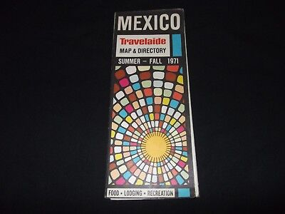 1971 Mexico Map Travelaide Central America Fold Out Map Directory Mexican Route
