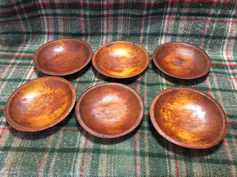 "Vintage Primitive Munising 7"" Wooden Wood Bowls Flat Farmhouse Set of 6"