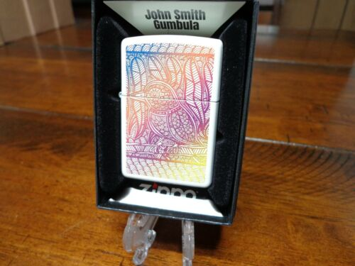 JOHN SMITH GUMBALA COLORFUL BIRD WHITE MATTE ZIPPO LIGHTER MINT IN BOX