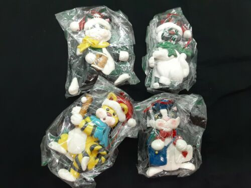 set of 4 polymer clay cat ornaments mailman, football, golfer and baseball