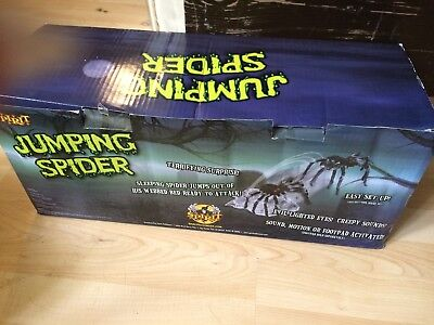 NEW IN BOX ANIMATED JUMPING BLACK SPIDER SPIRIT HALLOWEEN PROP