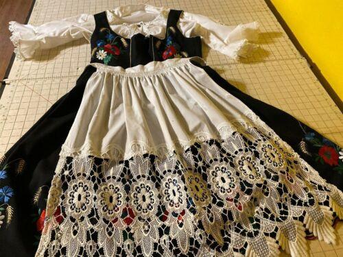 Authentic German Womens Dress w/apron & Shirt Size 47 Embordiered Black