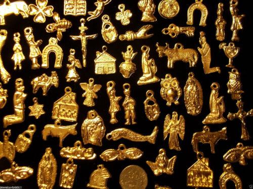 100 GOLD Mexican Folk Art Milagros Charms Exvoto Nicho Retablo Charms Lot