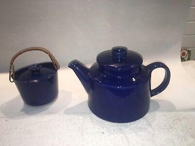 Arabia Finland Kilta Cobalt Blue Coffee Pot & Marmalade / Sugar Bowl Kaj Franck segunda mano  Embacar hacia Argentina