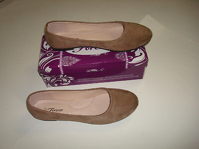 New Women Cute Casual Comfort Slip on Round Toe Ballet Flat Suede Shoes Co Taupe