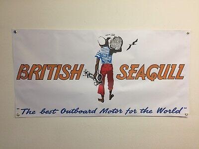 vintage british seagull motor banner advertising shop mancave display