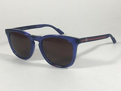 Gucci Retro Square Sunglasses Blue Transparent Frame Brown Lens Japan GG1122/J