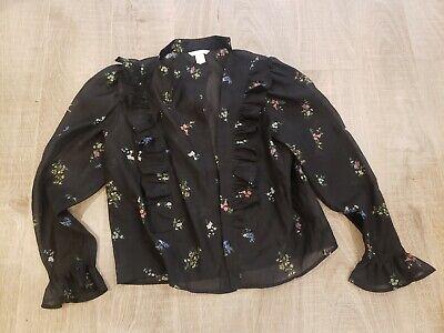 H & M High Neck Floral Blouse Size 12