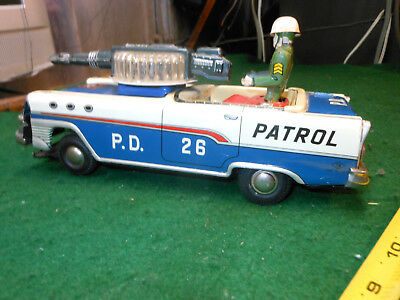 Vintage Tn Nomura Police Patrol Japan Tin Toy With Box Car 50S 1960 Space Litho