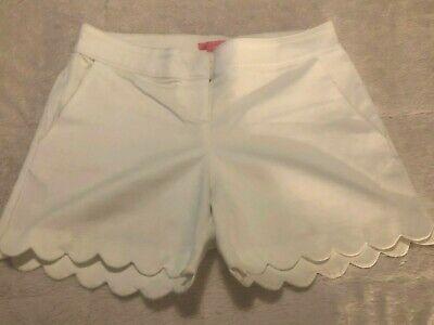 Isaac Mizrahi New York Womens White Scallop Trim Shorts Sz 10 Like New!