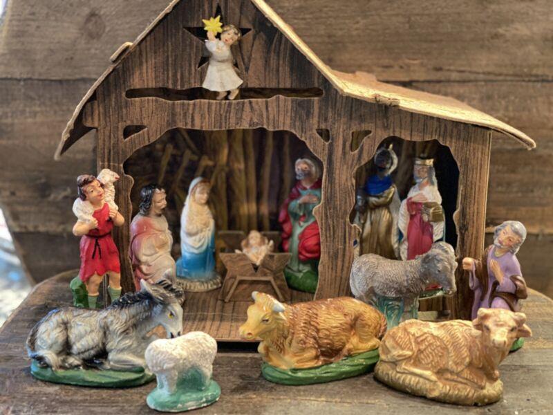 Vintage 15 Piece Nativity Mismatched Set Putz Figurines Italy Christmas