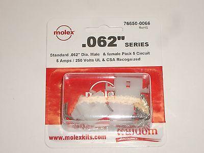 Molex 76650-0066 .062 5 Circuit Power Plug Socket Set Of 2 W Pins For Alinco
