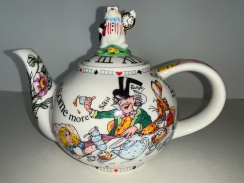 Paul Cardew 2004 Alice In Wonderland Teapot White Rabbit Mad Hatter - Unused