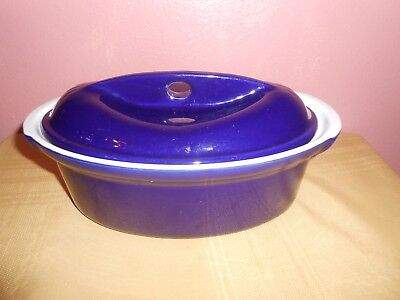 Emile Henry Cobalt Blue Oval Dutch Oven Casserole Dish with lid Made in France