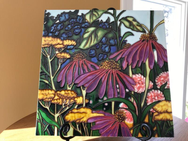 DECORATIVE ENAMEL ART TILE Floral/Botanical11.75 in.² Signed JAN-Origin/History?
