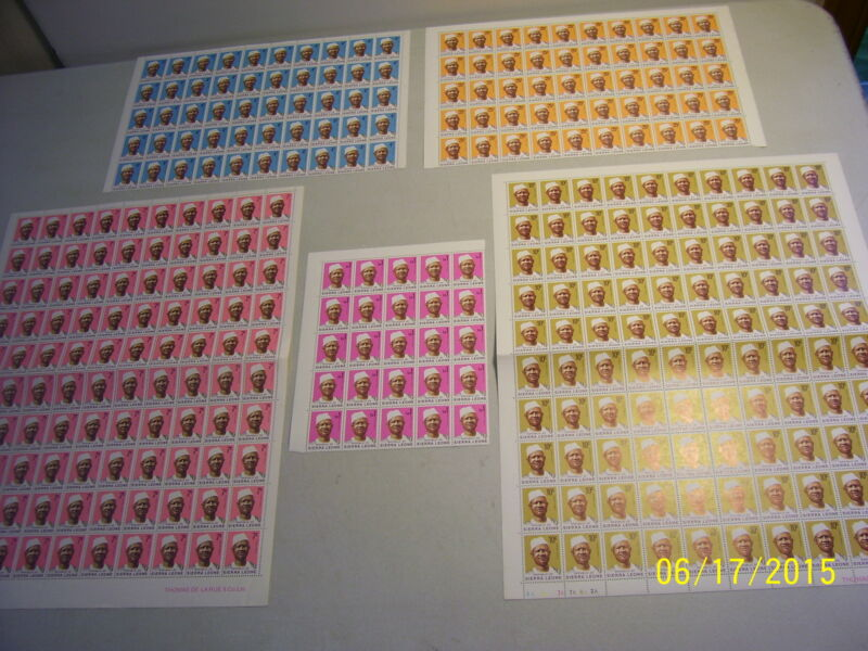 Large Dealer's Stock Lot of Mint Never Hinged Republic of Sierra Leone Stamps