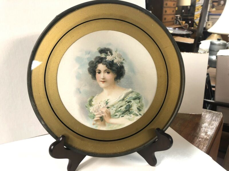 Vintage Antique Flue Cover Wall Hanging Victorain Lady 8 1/2""