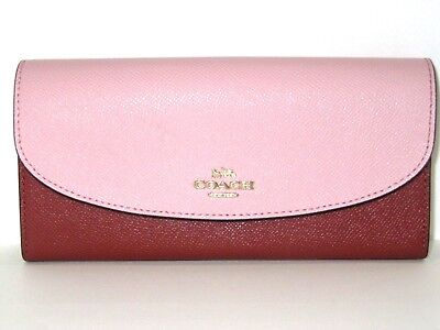 Coach F26457 Blush Pink & Terracotta Leather Slim Envelope Wallet NWT $250
