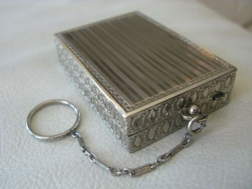Antique Silver T  Bar Chain Dance Card Case Compact CHARMANT