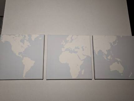 New ikea world map printed on three canvases decorative world map canvas wall decoration gumiabroncs Image collections