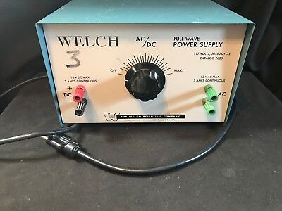 Welch Scientific Ac Dc Full Wave Power Supply 2625 Working B