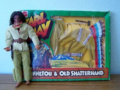 1975 Karl May ADVENTURE SET CHIEF FASHION & BLOODY FOX DOLL Mattel Germany NRFB