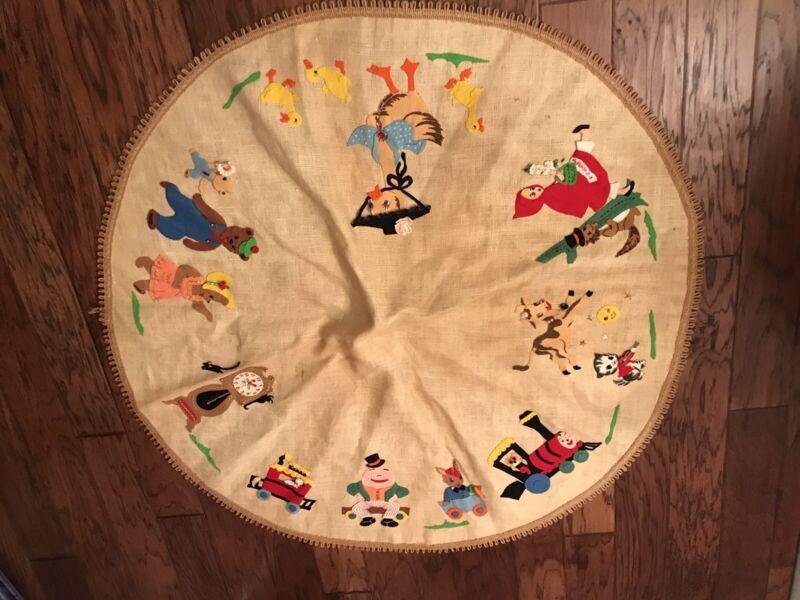 Vintage Tablecloth Christmas Easter Tree Skirt Ducks Nursery Rhymes Sequin Fancy