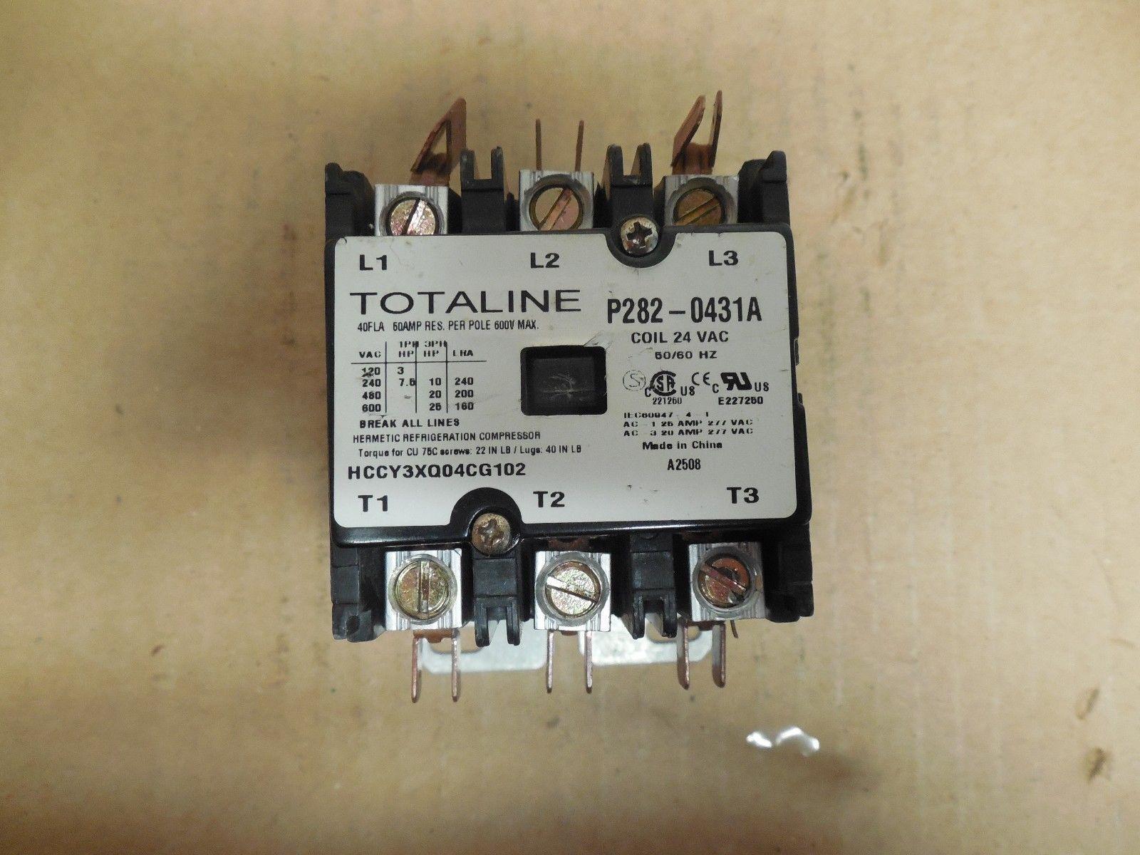 HVAC Contactor 3 Pole 40 FLA 50A 24 VAC Coil TOTALINE P282