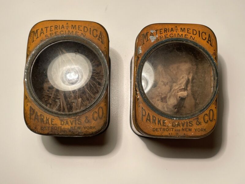 Antique Parke Davis & Co. Materia Medica Large Specimen Tins w/ Glass
