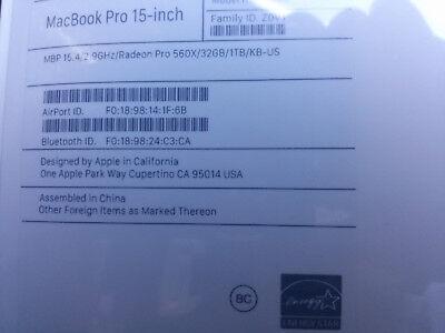 "2018 NEW 15"" Macbook Pro  2.9ghz 32gb mem 1TB SSD TouchBar 3year Apple Woe"