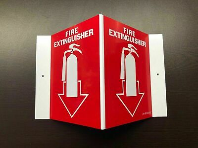 10-signs-5 X 6 3-d Rigid Plastic Angle Fire Extinguisher Picture Signs