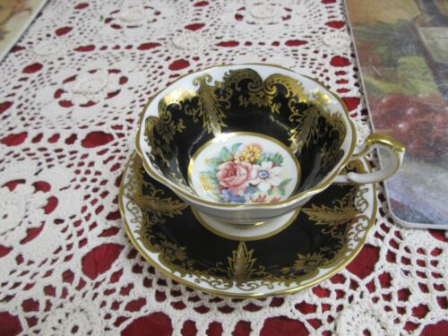 Vtg Paragon Bone China England - Kingston - Black Gold Floral .