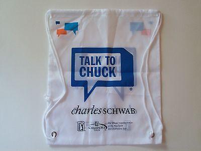 New Charles Schwab Pga Golfing Cinch Bag Sack Backpack Drawstring Talk To Chuck