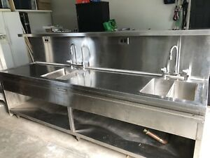 Stainless steel sink - double bowl- commercial