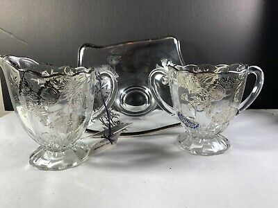 Sterling On Crystal Silver City Glass Company Sugar and Creamer Nut Bowl W/ Tags - Party City Sterling