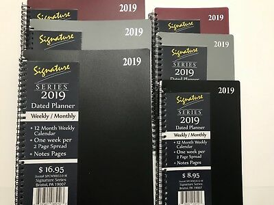 2019 Signature Dated Day Planner Calendar Appointment- Weekly Monthly 8x10 5x8