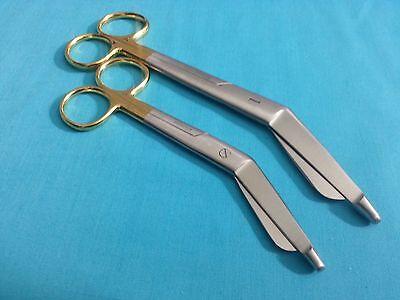 2 Supercut Lister Bandage Scissors 5.5 7.25 Gold Handle Surgical Instruments